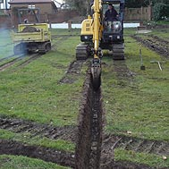Drainage excavation works - Ground Works - Quest Landscapes Isle of Man